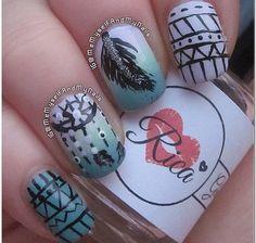 Dream catcher nails by @memyselfandmynails