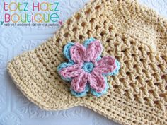 Crochet Visor Hat with Flower