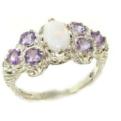 Solid English Sterling Silver Womens Large Opal & Amethyst Art Nouveau Ring - Finger Sizes 5 to 12 Available: Jewelry on Wanelo