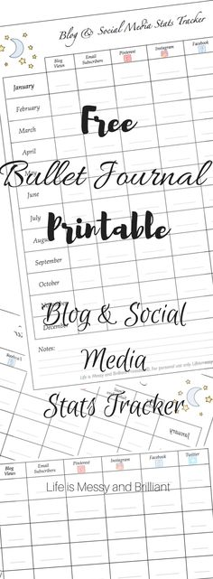 Bullet Journal 101 – Get started with bullet journals Free Bullet Journal Printables, Bullet Journal How To Start A, Bullet Journal Layout, Bullet Journal Inspiration, Printable Planner, Bullet Journals, Free Printables, Bujo, Social Media Tracker