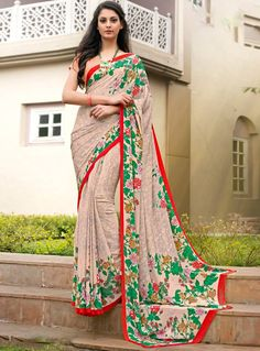 Buy Beige Crepe Casual Wear Saree 85646 with blouse online at lowest price from vast collection of sarees at m.indianclothstore.c.
