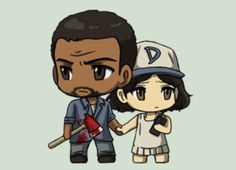The Walking Dead Game... cute little anime of lee and clementine