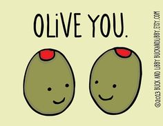 Olive You Frameable Illustration Print by Buck and by BuckAndLibby