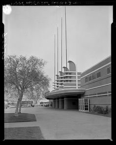 Pan-Pacific Auditorium, Los Angeles, 1956, designed by  Los Angeles architectural firm Wurdeman and Becket.  Noted as one of the finest examples of Streamline Moderne architecture in the United States.