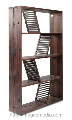 Designer Reclaimed Wood Bookcase Shipwood Dark by Fashion For Home
