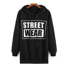 SheIn(sheinside) Black Hooded STREET WEAR Print Sweatshirt (150 NOK) ❤ liked on Polyvore featuring tops, hoodies, sweatshirts, black, pullover hooded sweatshirt, black hooded sweatshirt, sweatshirt hoodie, black sweat shirt and sweatshirts hoodies