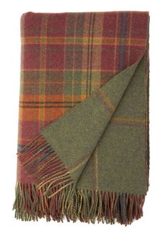 Johnstons of Elgin Dunoon Reversible Red Check and Green Windowpane Tweed Lambswool Throw