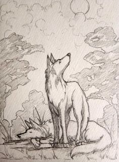 """Happy Sunday, folks! #EMGSketchFest 86 is still going strong, running for an extra few hours today! Check out these excellent featured illustrations, and then head over to the full gallery! http://www.ellenmilliongraphics.com/sketchfest/sketchfestgallery.php?date=86 The second featured illustration is """"Wolves"""" by Marose Magpily. #artevent #speeddrawing #wolf #wolfart"""