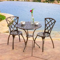 3 piece bistro set with 2 chairs and a table cast aluminum bronze with a brownbronze color indoor or outdoor patio furniture cross scented candle tart included for sale Iron Patio Furniture, Fire Pit Furniture, Outdoor Furniture, Furniture Ideas, Furniture Design, Modern Furniture, Garden Furniture, Sunroom Furniture, Cheap Furniture
