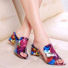 High-quality Transparent Beaded Color Match Crystal Slip On Square Heel Sandals Slippers - NewChic