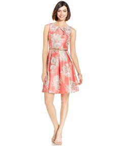 Jessica Howard Floral-Print Belted Dress - Dresses - Women - Macy's