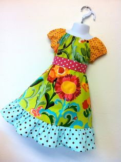 flower garden girls peasant dress by SoSoHippo on Etsy, $38.00