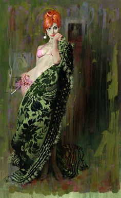 "Robert McGinnis    I'm liking the red hair and the pink outfit (what there is of it) against that green thing. Of course, it helps that those colors show up on this sexy McGinnis woman. She appeared on the cover of the paperback by Carter Brown titled ""The Exotic""."