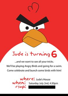 angry birds bday invite...doing this for his bday next year...that is, if he still likes angry birds LOL