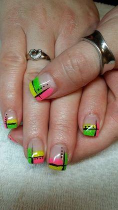 Fun neon gel nails
