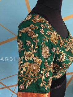 Embroidery blouse designs elephant Ideas for 2019 Wedding Saree Blouse Designs, Pattu Saree Blouse Designs, Fancy Blouse Designs, Hand Work Blouse Design, Stylish Blouse Design, Hand Work Design, Zardosi Work Blouse, Maggam Work Designs, Zardosi Work Design
