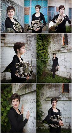 Senior girl with french horn in urban setting #kalamazoo #baseniors