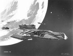 Battlestar_Galactica_Concept_Art Ralph McQuarrie #art #illustration #scifi…