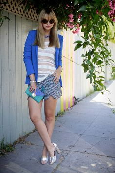Reese + Riley blazer, Heartloom top, Zara shorts, Phillip Lim shoes, Loeffler Randall clutch