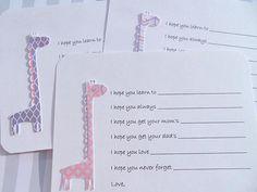 Baby Girl Shower Games   Baby Shower Wish Cards  Giraffe