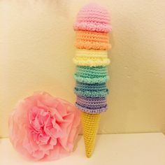 This listing is for a crochet rainbow ice cream cone. Currently made to order.  Customize your ice cream. Please convo me and let me know which