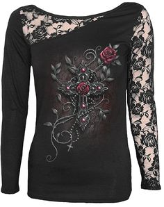 Spiral Gothic Angel Beads Lace Top