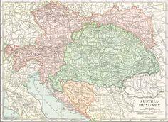 1910 Map of Austria, Hungary, Croatia & Slavonia, Bosnia