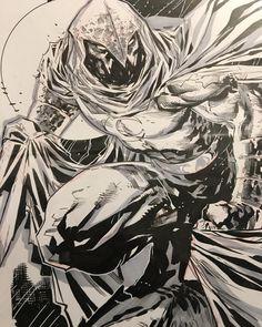 "Moonknight by Ken Lashley #ledkilla #lashley #kenlashley #moonknight #marvel #marvelcomics #comics #inking…"""