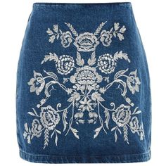 Topshop Moto Embroidered a-Line Skirt ($50) ❤ liked on Polyvore featuring skirts, topshop, mid stone, blue skirts, embroidered skirt, knee length a line skirt, metallic a line skirt and blue a line skirt