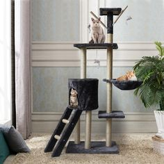 Cat Tower Kittens Pet Play House Cat Activity Tree Condo Scratching Sisal Post Specifications: Colour:Gray Net weight: 8.24 kg (18.16 pounds) Gross weight: 8.97 kg(19.77 pounds) Materials:MDF Product size: 78 x 50 x 140 cm( 30.7 x 19.68 x 55.11 inch) Package dimensions:56 x 38 x 19 cm(22.0 x 14.9 x 7.48 inch) Feature: Sturdy & Safe: The bottom base is reinforced that ensures its stability of the whole cat tree, staying put with no sign of tipping. The solid construction is light weight enoug Sisal Twine, Cat Tree Condo, Cat Tree House, Cat Activity, Condo Furniture, Animal Games, Scratching Post, Happy Animals, Cute Cats