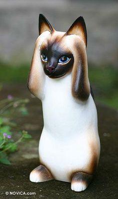 Wood sculpture, 'Hear No Evil Siamese Cat' by NOVICA