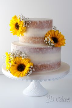 Sunflower, naked cake by 2bi Cakes.  https://www.facebook.com/2bicakes/