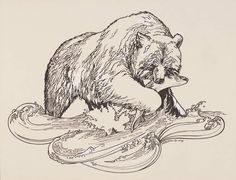 Bear with Fish The pen on paper with white gouache drawing showcases Mary Beth's graphic design capabilities.