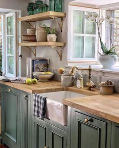 Mar 7 2020 - 51 Green Kitchen Designs - Each of us has different needs and m . - 51 Green Kitchen Designs Each of u. Green Country Kitchen, Country Kitchen Cabinets, Kitchen Cabinetry, Kitchen Flooring, Home Decor Kitchen, Kitchen Interior, New Kitchen, Kitchen Sink, Kitchen Ideas