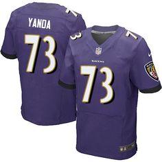Nike Elite Marshal Yanda Purple Men's Jersey - Baltimore Ravens #73 NFL Home