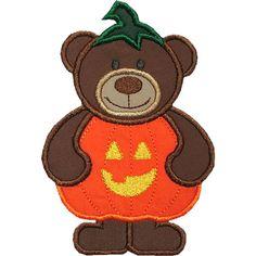 Pumpkin Bear Applique Design