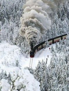 Snow steam train, Germany.
