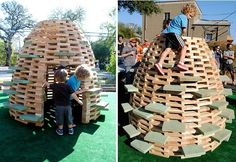 """D.I.Y. Playground: 'PlayHive' Playhouse by thoughtbarn, with plans licensed via Creative Commons, is yours to build with 2""""x4""""s, a handful of 2""""x12""""s, a lot of 2"""" screws, some basic woodworking tools, and some patience. Article by Paige Johnson of """"Playscapes,"""" 19 Mar. 2012. Plans at https://docs.google.com/file/d/0B2mfa2lmy9ZEMFF0QnhQdmhTVzY1eVduSW1DaGtkZw/edit."""