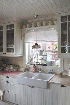 Cozy Shabby Chic Kitchen Decor - Love the sink and shelves above the window.