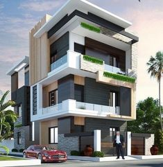 The modern home exterior design is the most popular among new house owners and those who intend to become the owner of a modern house. Architect Design House, Architecture Building Design, Home Building Design, Facade Design, Exterior Design, Rendering Architecture, 3 Storey House Design, Bungalow House Design, House Front Design