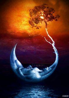 the moon and your soul Exposition Multiple, Double Exposition, Sun Moon, Stars And Moon, Beautiful Dark Art, Sacred Feminine, Good Night Moon, Moon Magic, Italian Painters