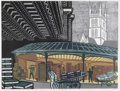 'Borough Market' by Edward Bawden, 1967 (lithograph)