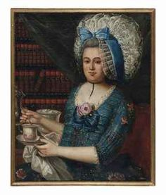 German school, 18th century, An Elegant Lady Drinking Tea in a Library