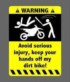 WARNING DIRT BIKE STICKER DECAL 4 KTM YAMAHA 250 125