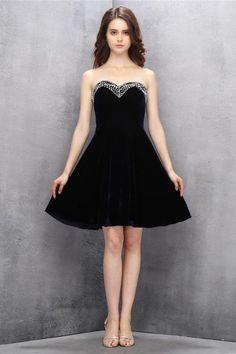 AH007 Sweetheart Dark Navy Flannel Beading Homecoming/Prom Dresses Sexy Bridesmaid Dress ,Cheap Prom Dress