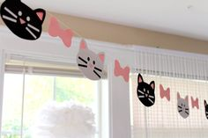 Cat Garland cats kitten kitty banner by TheShowerPlanner on Etsy and like OMG! get some yourself some pawtastic adorable cat apparel! Cat Themed Parties, 2nd Birthday Parties, Girl Birthday, Birthday Cats, Birthday Ideas, Kitty Party, Puppy Party, Animal Party, Kitten