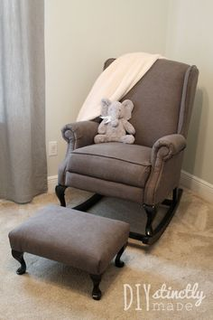 Chair to Nursery Rocker Furniture Refabs ~ Turn a regular old wingback chairs into a rocker! {Pottery Barn Knock Off}Furniture Refabs ~ Turn a regular old wingback chairs into a rocker! {Pottery Barn Knock Off} Nursery Rocker, Rocking Chair Nursery, Baby Nursery Diy, Baby Bedroom, Rocking Chairs, Diy Baby, Ikea Chair, Diy Chair, Nursery Furniture