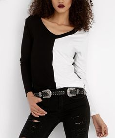 Love this Black & White Color Block V-Neck Top on #zulily! #zulilyfinds