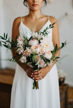 32 Knockout Dahlia Wedding Bouquets - A modern bouquet comprised of dahlias, protea, garden roses, and greenery, created by (Mint Floral - Dahlia Wedding Bouquets, Bride Bouquets, Bridal Flowers, Floral Wedding, Greenery Bouquets, Garden Rose Bouquet, Protea Bouquet, Modern Wedding Flowers, Pink Wedding Flower Arrangements