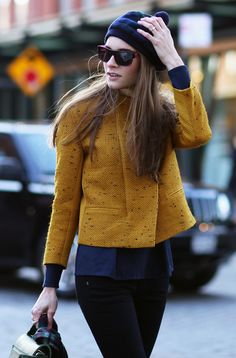 mustard jacket. love the structure and fit, length is also perfect, just above the hip. Nicely pulled together with the pops of navy color throughout topped off with the navy hat.